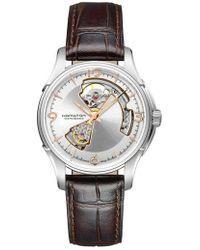 Hamilton - Jazzmaster Open Heart Automatic Leather Strap Watch - Lyst