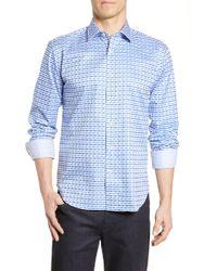 Bugatchi - Shaped Fit Print Cotton Sport Shirt - Lyst