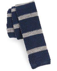Eleventy - Stripe Skinny Woven Silk & Linen Tie - Lyst