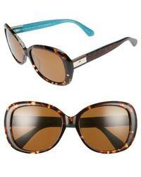 Kate Spade | Judyann 50mm Sunglasses - Havana/ Turquoise | Lyst