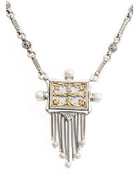 Konstantino - Etched Sterling Silver & Pearl Fringe Pendant - Lyst