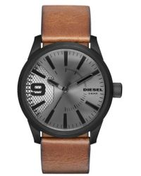 DIESEL | Diesel 'the Rasp' Leather Strap Watch | Lyst