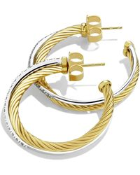 David Yurman - 'crossover' Medium Hoop Earrings With Diamonds In Gold - Lyst