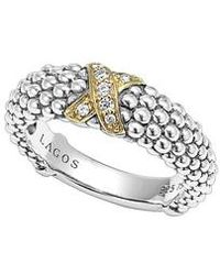 Lagos - 'x' Diamond & Caviar-(tm)' Two Tone Ring - Lyst