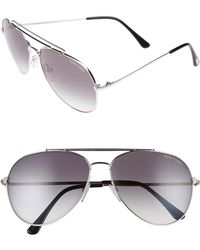 ab06aa083439 Tom Ford - Indiana 60mm Aviator Sunglasses - Shiny Rhodium  Gradient Smoke  - Lyst