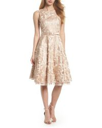 Eliza J - Belted Lace Fit & Flare Dress - Lyst
