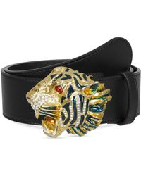 fd76051398e Lyst - Gucci Leather Belt With Tiger Buckle in Brown