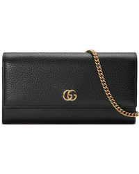 Gucci - Marmont Leather Continental Wallet On A Chain - Lyst