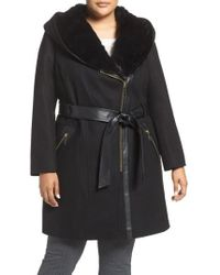 Via Spiga - Wool Blend Coat With Faux Fur Trim - Lyst