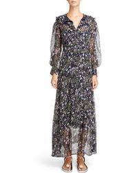 Isabel Marant - Metallic Bloom Silk Maxi Dress - Lyst