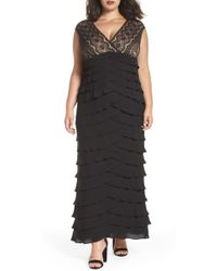 Adrianna Papell - Lace & Shutter Pleat Gown - Lyst