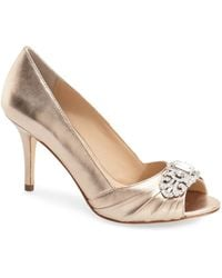 Nina - 'verity' Swarovski Peep Toe Pump - Lyst
