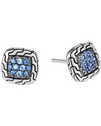 John Hardy - Classic Chain Sapphire & Silver Stud Earrings - Lyst