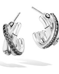 John Hardy - Bamboo Black Sapphire & Spinel J-hoop Earrings - Lyst