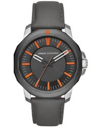 Armani Exchange - Three-hand Leather Strap Watch - Lyst