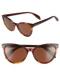Alexander McQueen - 55mm Cat Eye Sunglasses - Avana - Lyst
