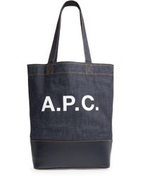 A.P.C. - Cabas Axel Canvas & Leather Tote - - Lyst