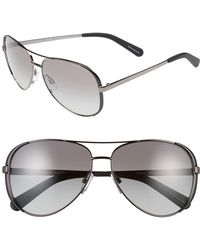 04e16feaa1 Michael Kors - Collection 59mm Aviator Sunglasses - Gunmetal  Black  Grey  Gradient - Lyst