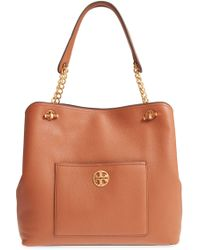 68eabbe492 Tory Burch Bryant Quilted Leather Slouchy Tote in Pink - Lyst