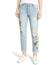 Tinsel   Floral Embroidered Boyfriend Jeans   Lyst