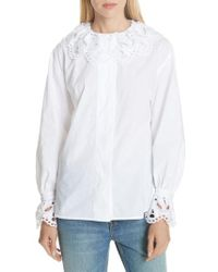 e67b92e3475 Lyst - Sandro Lace-up Tie Silk Top in White