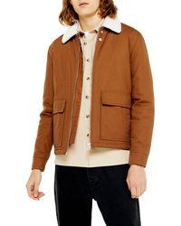 TOPMAN Faux Fur Borg Collar Coach Jacket - Brown