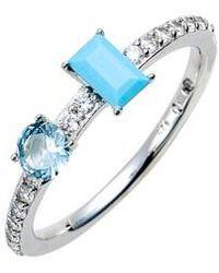 Nadri - Turquoise & Crystal Ring - Lyst