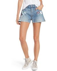 7 For All Mankind | 7 For All Mankind Handpainted Cutoff Denim Shorts | Lyst