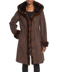 Gallery | Hooded Faux Shearling Long A-line Coat | Lyst