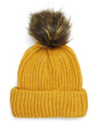 6048e70c2ae Lyst - TOPSHOP Sno Beanie With Faux Fur Pompom in Black