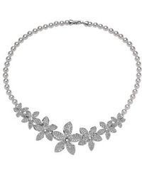 Nina - Crystal & Faux Pearl Frontal Necklace - Lyst