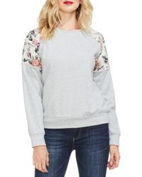 Vince Camuto - Mixed-media Sweatshirt - Lyst