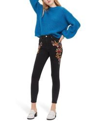 TOPSHOP | Jamie Embroidered High Waist Skinny Jeans | Lyst