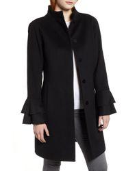 Trina Turk - Sara Ruffle Cuff Wool Blend Coat - Lyst