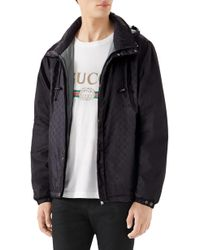 34cf8c30582 Lyst - Gucci Contrasted GG Hoodie in Black for Men
