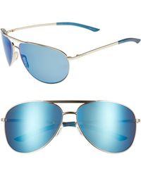 16e3fcb112e Smith - Serpico 2 65mm Mirrored Chromapop(tm) Polarized Aviator Sunglasses  - Lyst