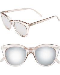 Le Specs - Halfmoon Magic 51mm Cat Eye Sunglasses - Stone/ Silver Mirror - Lyst