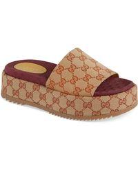 3979a1c77b80 Gucci - Angelina Gg Supreme Platform Slide Sandal - Lyst