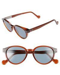 Moncler - 50mm Round Sunglasses - Shiny Dark Brown / Blue - Lyst