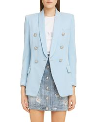 0077a548 Balmain Classic Double-breasted Woven Blazer in Pink - Lyst
