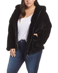 Glamorous - Faux Fur Zip Front Hooded Jacket - Lyst