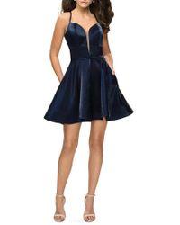 La Femme - Satin Fit & Flare Dress - Lyst