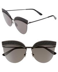 Bottega Veneta - 64mm Semi-rimless Cat Eye Sunglasses - - Lyst