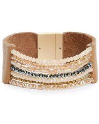 Panacea - Beaded Leather Cuff Bracelet - Lyst