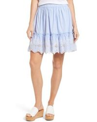 Caslon - Caslon Embroidered Hem Cotton Pinstripe Skirt - Lyst