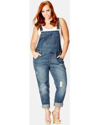 ffc0ef650e44 City Chic -  over It All  Distressed Denim Overalls - Lyst