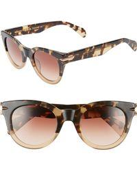 5ae1a7db0b767 Rag   Bone - Core 50mm Cat Eye Sunglasses - Havana Honey - Lyst