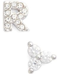 Nadri - Initial Mismatched Stud Earrings - Lyst