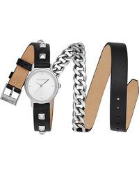 Rebecca Minkoff - Bffl Chain And Leather Strap Watch - Lyst