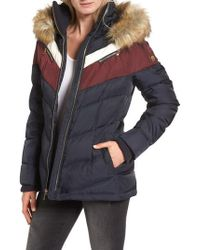 Vince Camuto - Belted Down & Feather Fill Coat With Faux Fur Trim Hood - Lyst